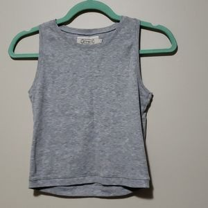 Gray Ribbed Muscle Tee Crop Top